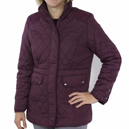 Totes Women's Mid Length Quilted Jacket Fig X-Large (Leather Mid Length Jacket)