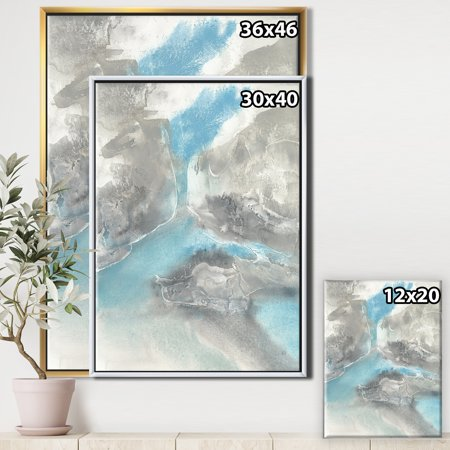 Watercolor Minimal Blue Tones II - Mid-Century Modern Framed Canvas - image 1 of 3