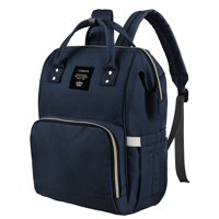 Large Capacity Mummy Maternity Nappy Bag Multifunctional Diaper Backpack Waterproof Mummy Bag Fashionable Travel Backpack for Baby Care, Navy Blue