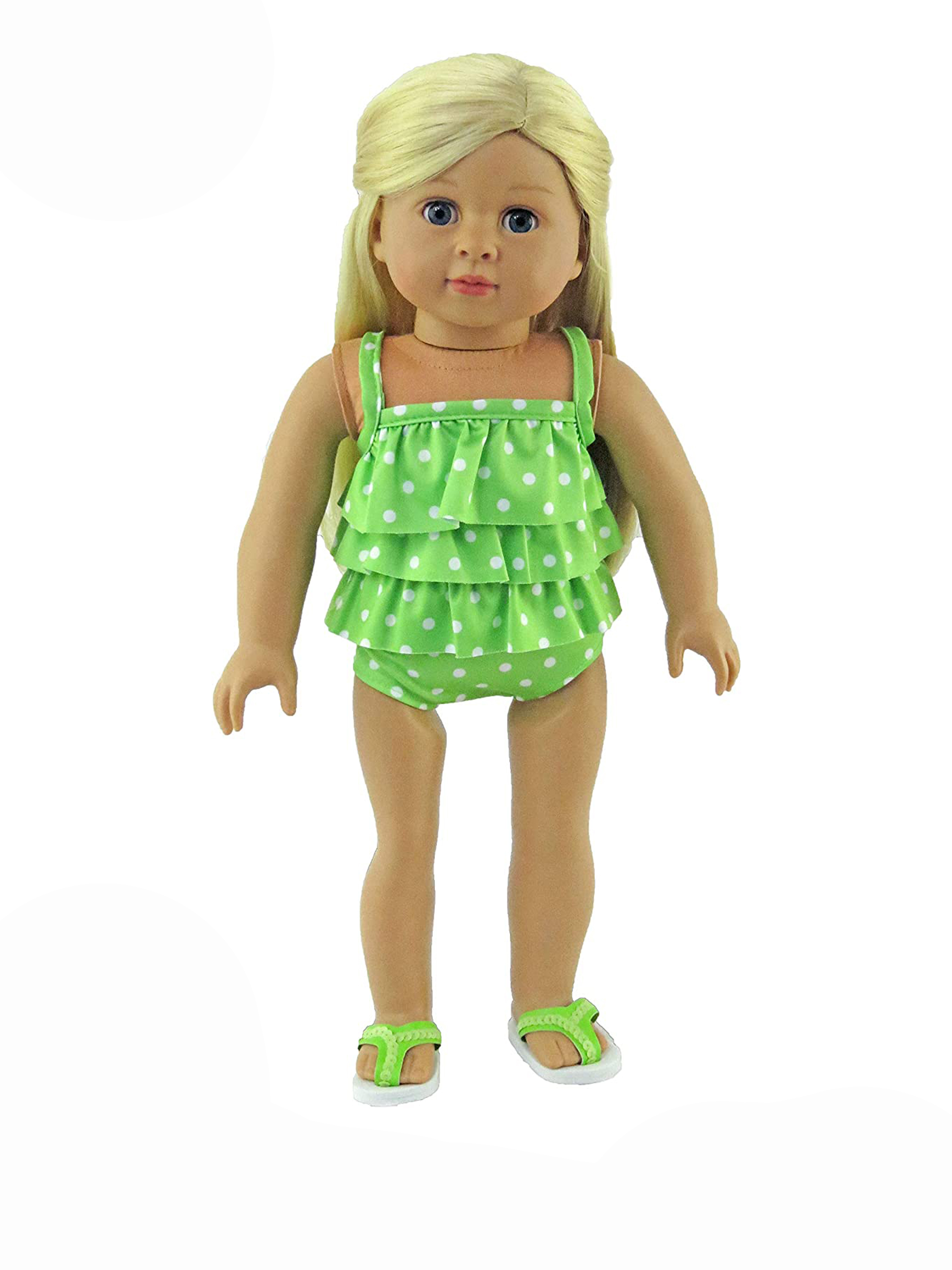 Ruffle Heart Print 1 Piece Swim Suit 18 in Doll Clothes Fits American Girl Dolls