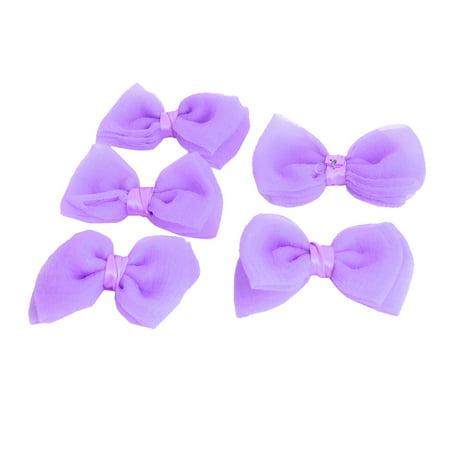 Unique Bargains Bowknot Shaped Wholesale Craft Headware Hairclips Decoration Bows Purple 5 PCS