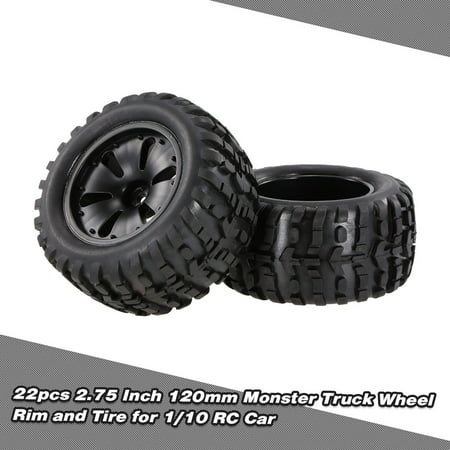 2pcs 2.75 Inch 120mm Monster Truck Wheel Rim and Tire for 1/10 HPI Savage XS Flux MT LRP RC -
