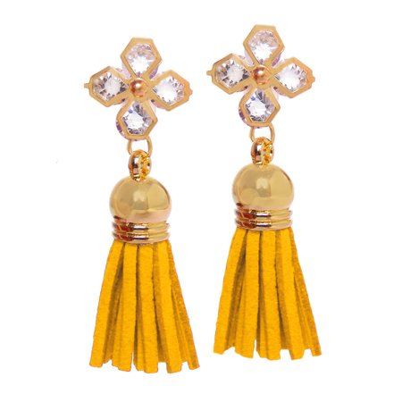 46a723543 Oussum - Mustard Yellow Tassel Earrings for Women Gold Acrylic Stone and  Suede Tassel Fashion Earrings Online - Walmart.com