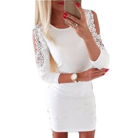 2ad339c2c8dc JustVH - JustVH Women's Cold Shoulder Long Sleeve Sundress Slim Fit Casual Midi  Bodycon Dress - Walmart.com