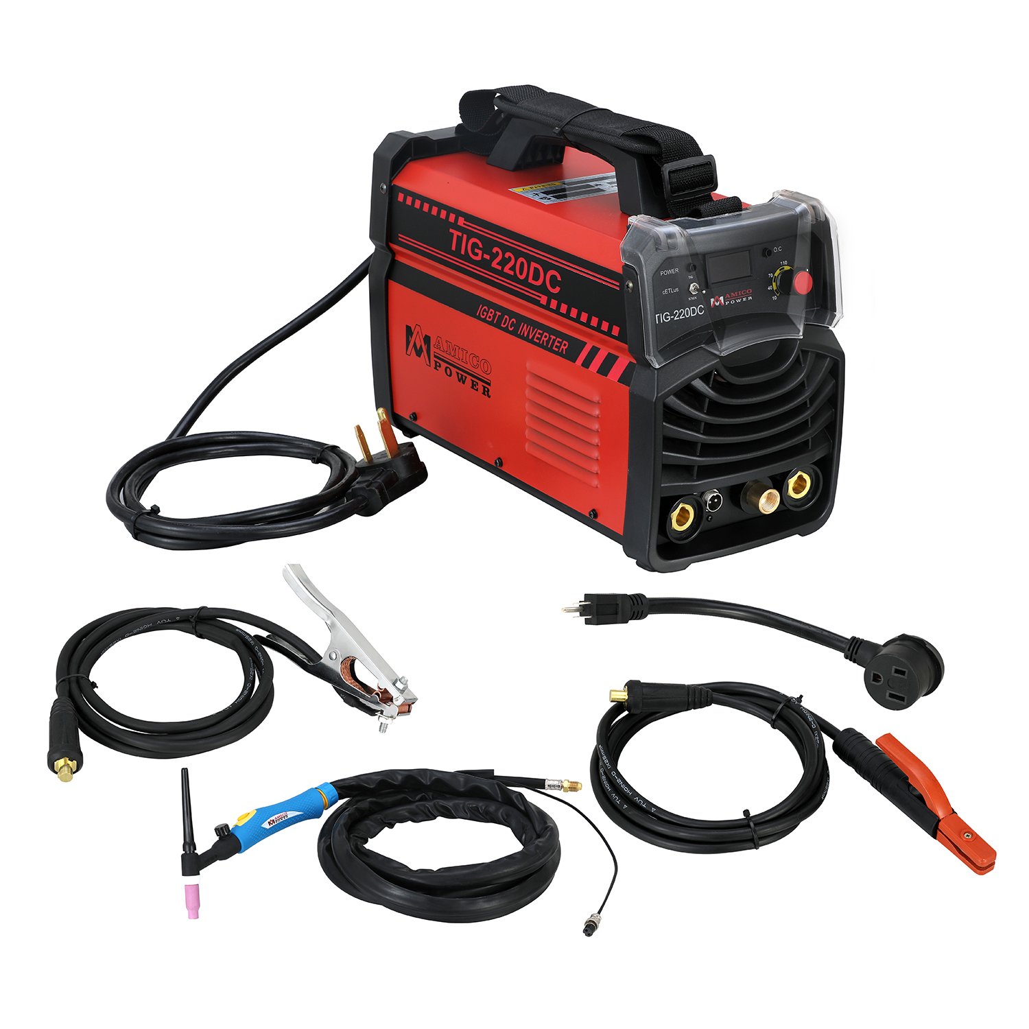 TIG-220DC, 220 Amp TIG Torch Stick Arc DC Welder 120/240V Dual Voltage Welding Machine
