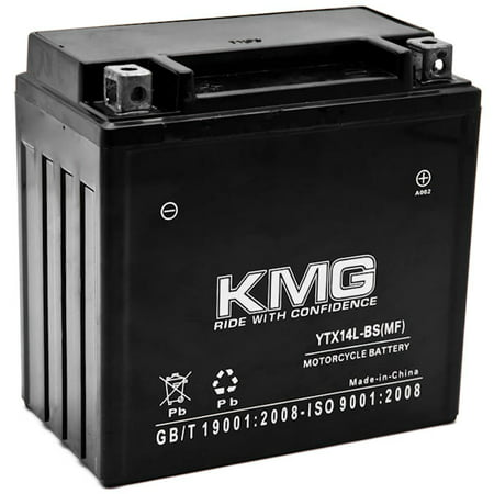 KMG YTX14L-BS Battery For Harley-Davidson 883 XL, XLH (Sportster) 2004-2012 Sealed Maintenace Free 12V Battery High Performance SMF OEM Replacement Powersport Motorcycle ATV Snowmobile Watercraft