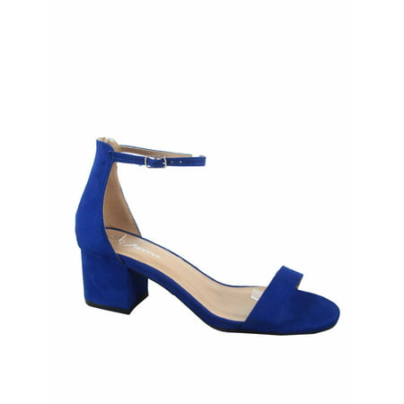 Nataly-06 Open Toe Ankle Strap Buckle Low Chunky Heels Causal Sandals Shoes