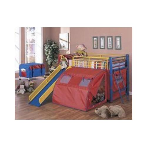 Oates Lofted Bed with Slide and Tent-Color:Multi