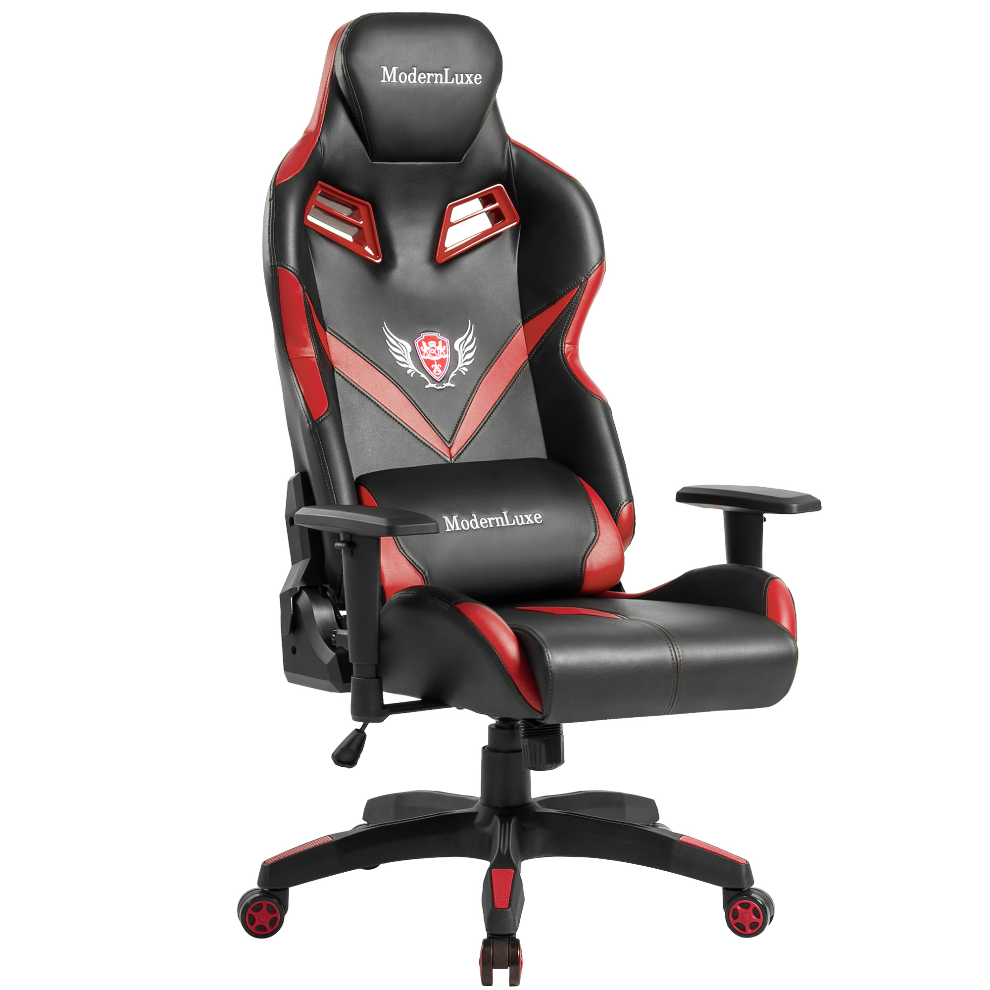 ModernLuxe High-back Gaming Chair, Leather with Lumbar Support