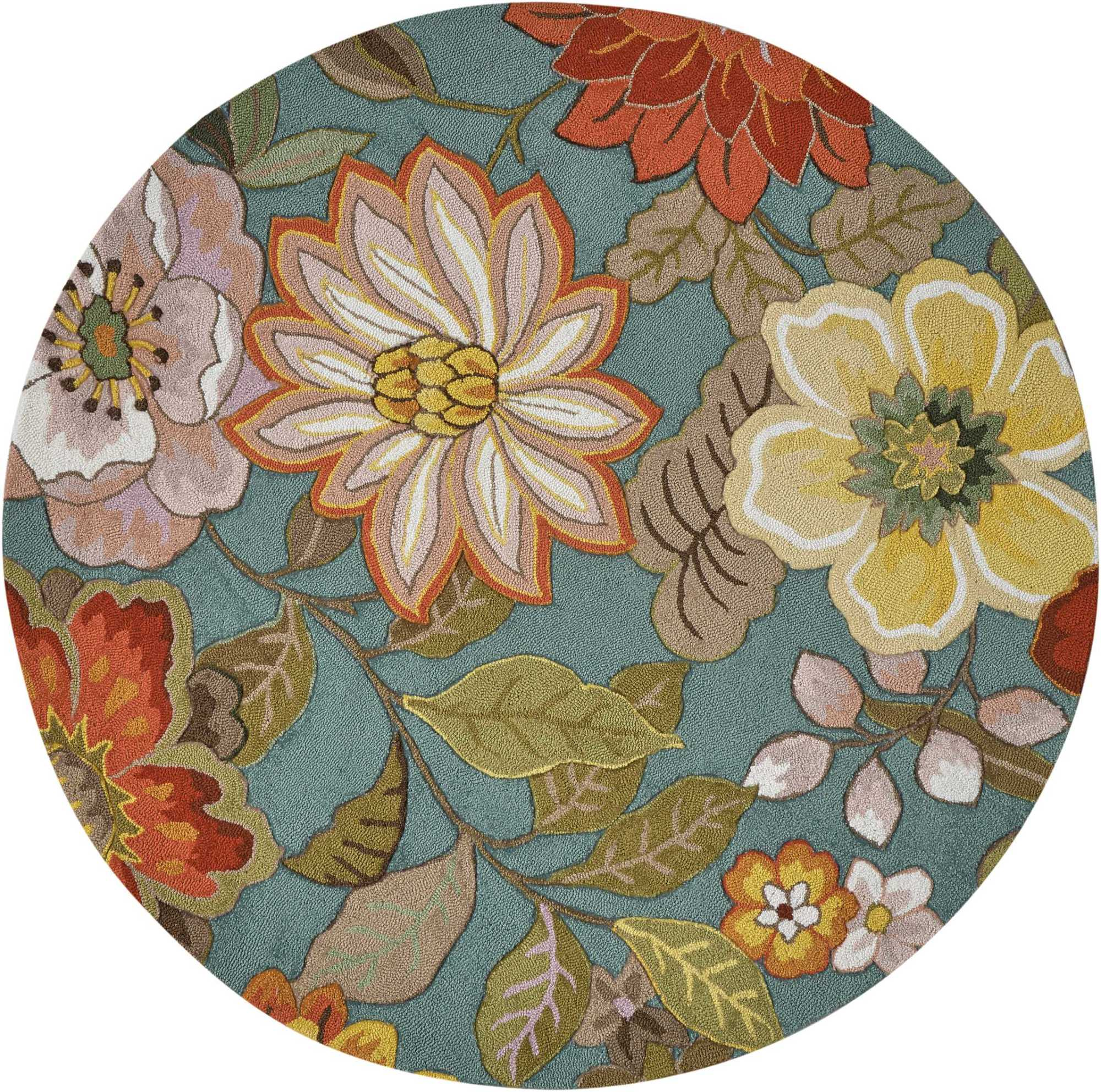 Nourison FA18-R-6X6 Fantasy 6' Round Synthetic Hand Tufted Floral Area Rug