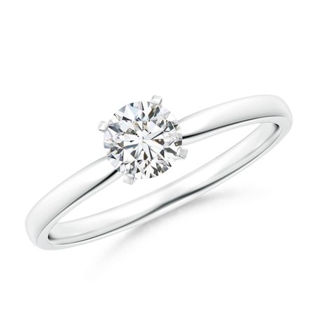 Platinum Diamond Solitaire (April Birthstone Ring - Classic Round Diamond Solitaire Ring in Platinum (5mm Diamond) - SR1506D-PT-HSI2-5-7)