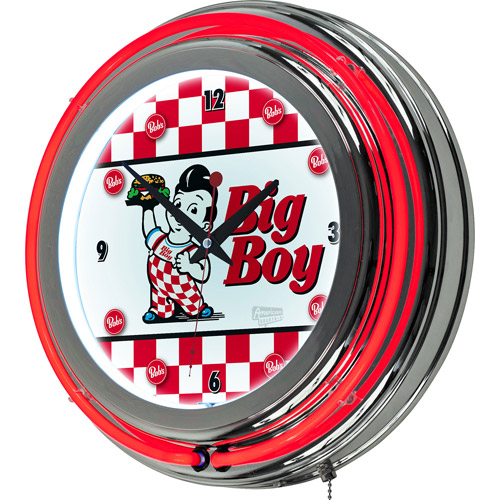 Trademark Global LLC Bobs Big Boy Checkered Chrome Double Ring Neon Clock