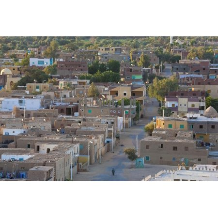 Oasis Town of Al Qasr in Western Desert of Egypt with Old Town Print Wall Art By Peter