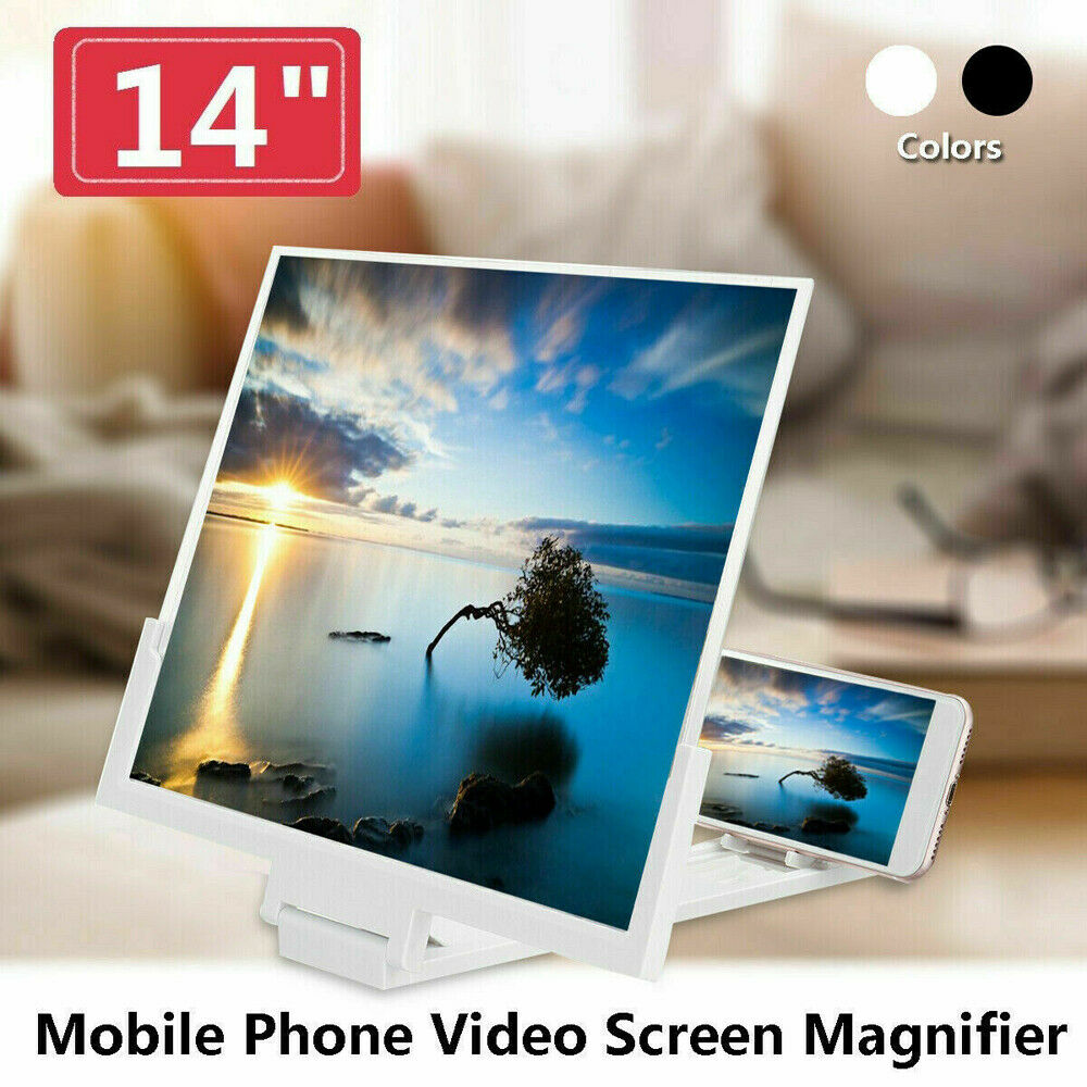 """ESAKO 14/"""" Phone Screen Magnifier for Smartphone Foldable Wooden Phone Stand with Screen Amplifier for Movie Video Game"""