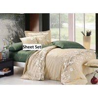 Swanson Beddings Cherry Blossom 100% Cotton Sheet Set : Fitted Sheet, Flat Sheet and Two Matching Pillowcases (Queen)