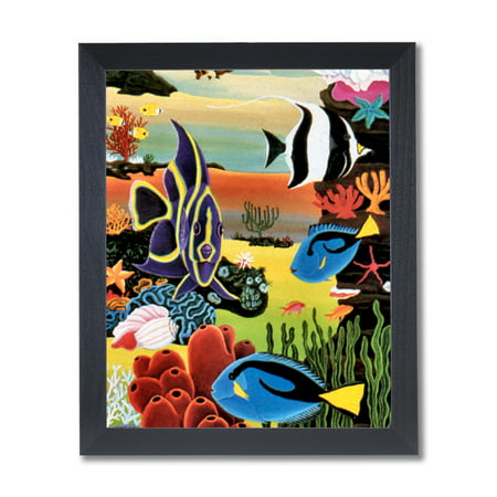 Tropical Ocean Fish Coral Reef Bathroom Wall Picture Black Framed Art Print