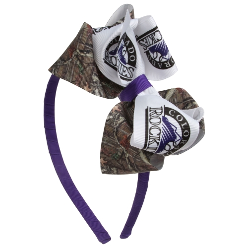 Colorado Rockies Women's Mossy Oak Wrapped Headband with Double Bow - No Size