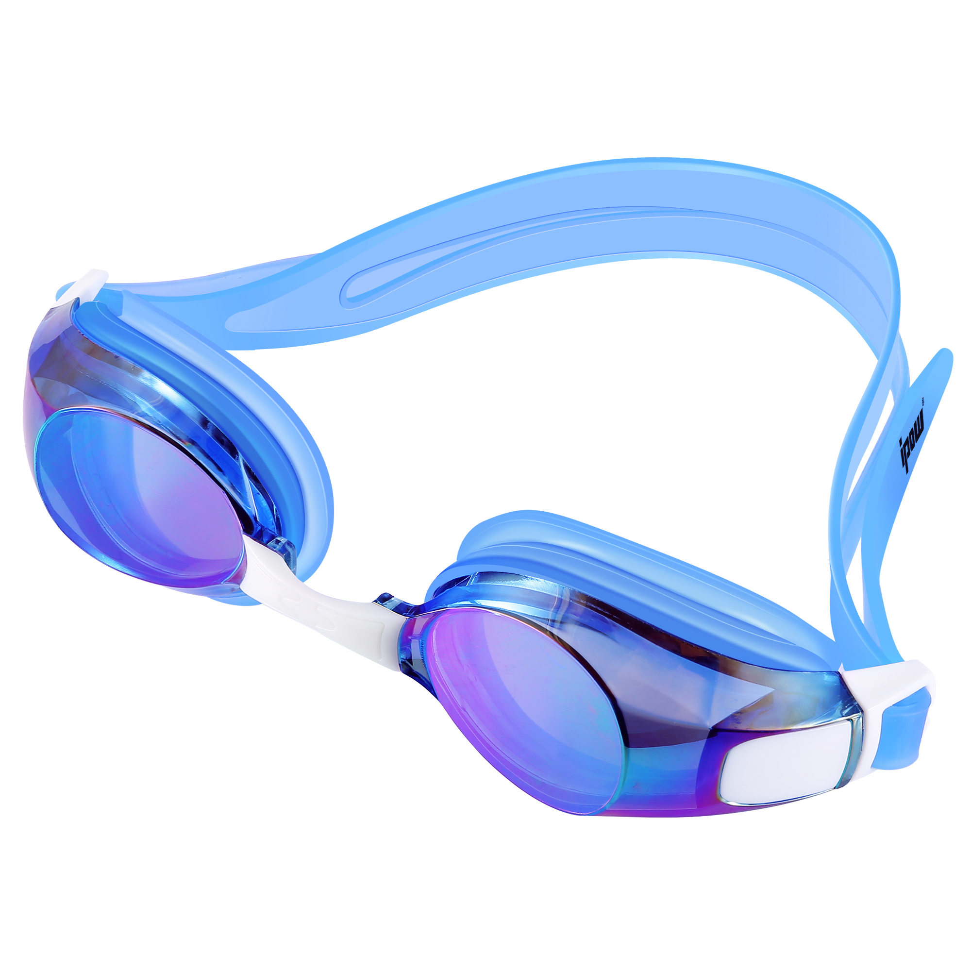 Swimming Goggles, IPOW Waterproof Swim Goggles Anti-Fog Swimming Glasses for Adults Women Men Kids Girls Boys Youth,UV Protection Swim Goggle with Free Protection Case, Blue