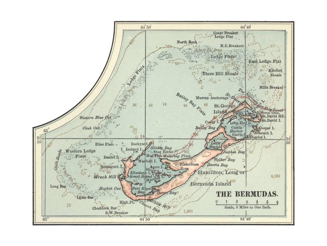 picture regarding Printable Map of Caribbean Islands known as Inset Map of the Bermudas. Caribbean Islands Print Wall Artwork By means of Encyclopaedia Britannica