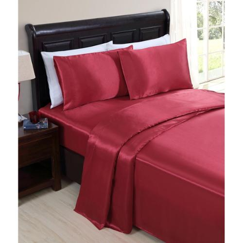 VCNY Celesta Satin Sheet Set Queen- Red