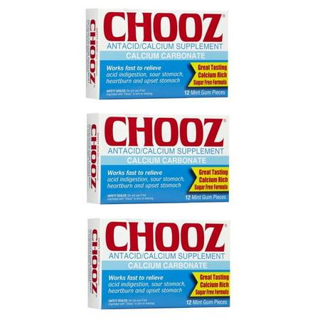 Chooz Antacid Calcium Supplement - 12 Mint Gum Pieces (Pack of 3)