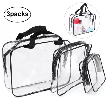 3 Pcs Clear PVC Cosmetic Bags Waterproof Makeup Bags Travel Toiletry Storage Case