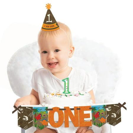 Dinosaur 1st Birthday (Dinosaur Birthday - 1st Birthday Boy Smash Cake Decorating Kit - High Chair)