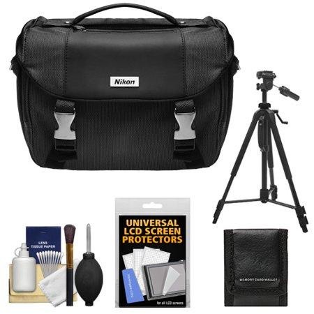 Nikon Deluxe Digital SLR Camera Case - Gadget Bag with Tripod + Cleaning Accessory Kitfor D3200, D3300, D5300, D5500, D7100, D7200, D610, D750, D810