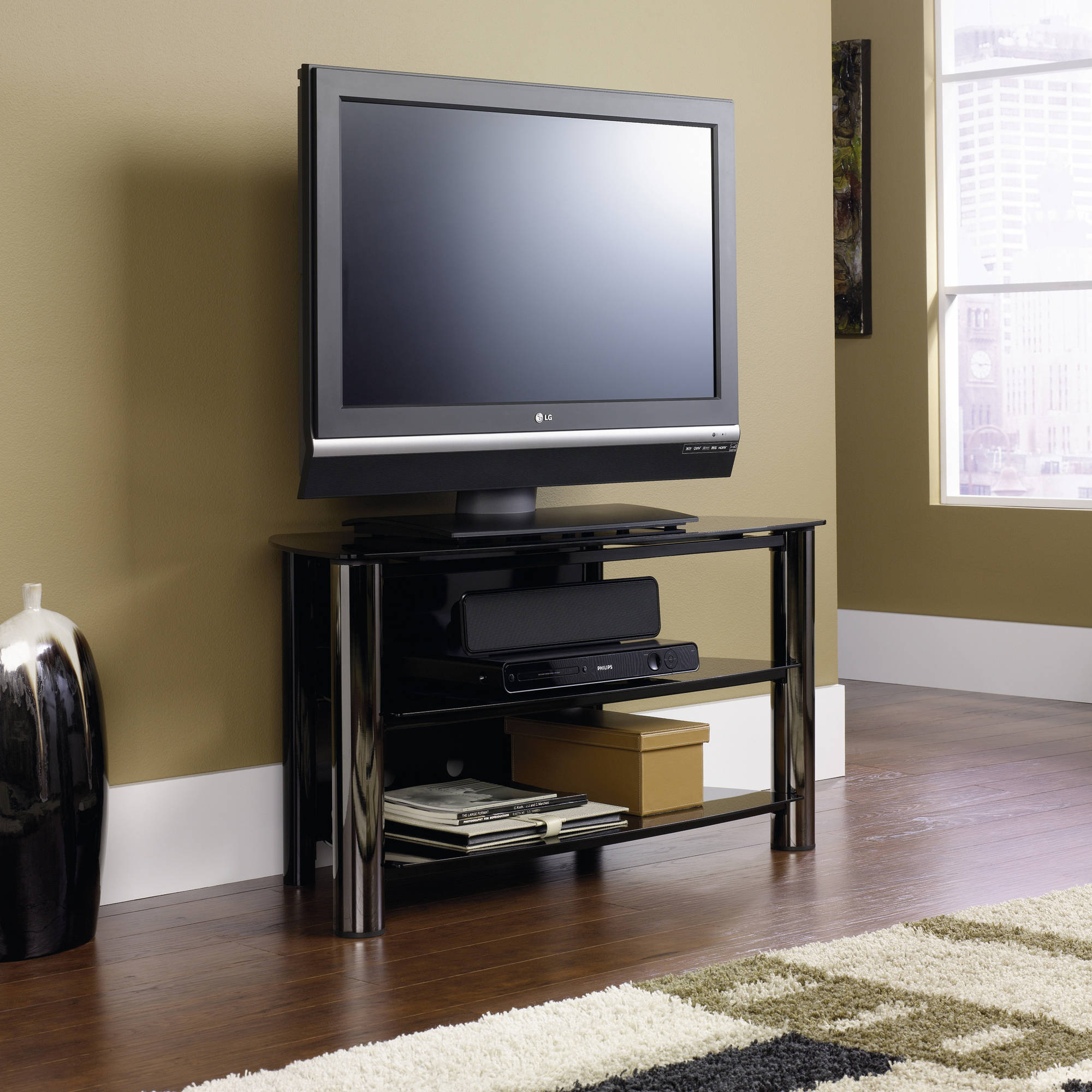 "Sauder Chroma Black Panel TV Stand for TVs up to 42"" Wide"