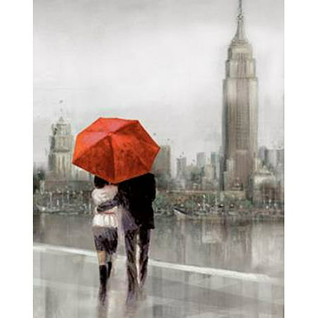 New york city couple with red umbrella canvas wall art 15 for Painting red umbrella