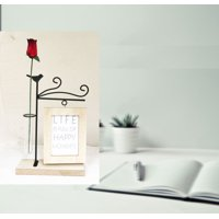 "Creative Motion All hand-made Desk-top Décor Metal stand with bird on the top with Hanging Photoframe ( 3"" x 5"") and a vase for live flower"