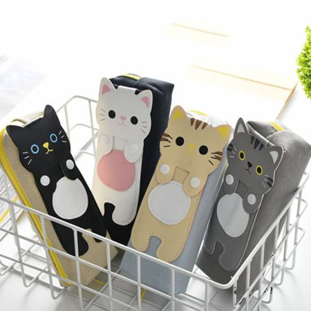 Cartoon Cute Cat Canvas Triangle Square Pen Bag Stationery Bag Pencil Bag - image 2 of 3