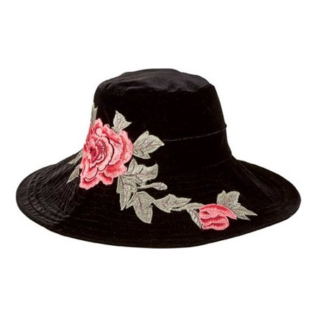 Women's San Diego Hat Company Velvet Floppy Hat with Embroidery Patch  CTH8100 Black One Size (21)