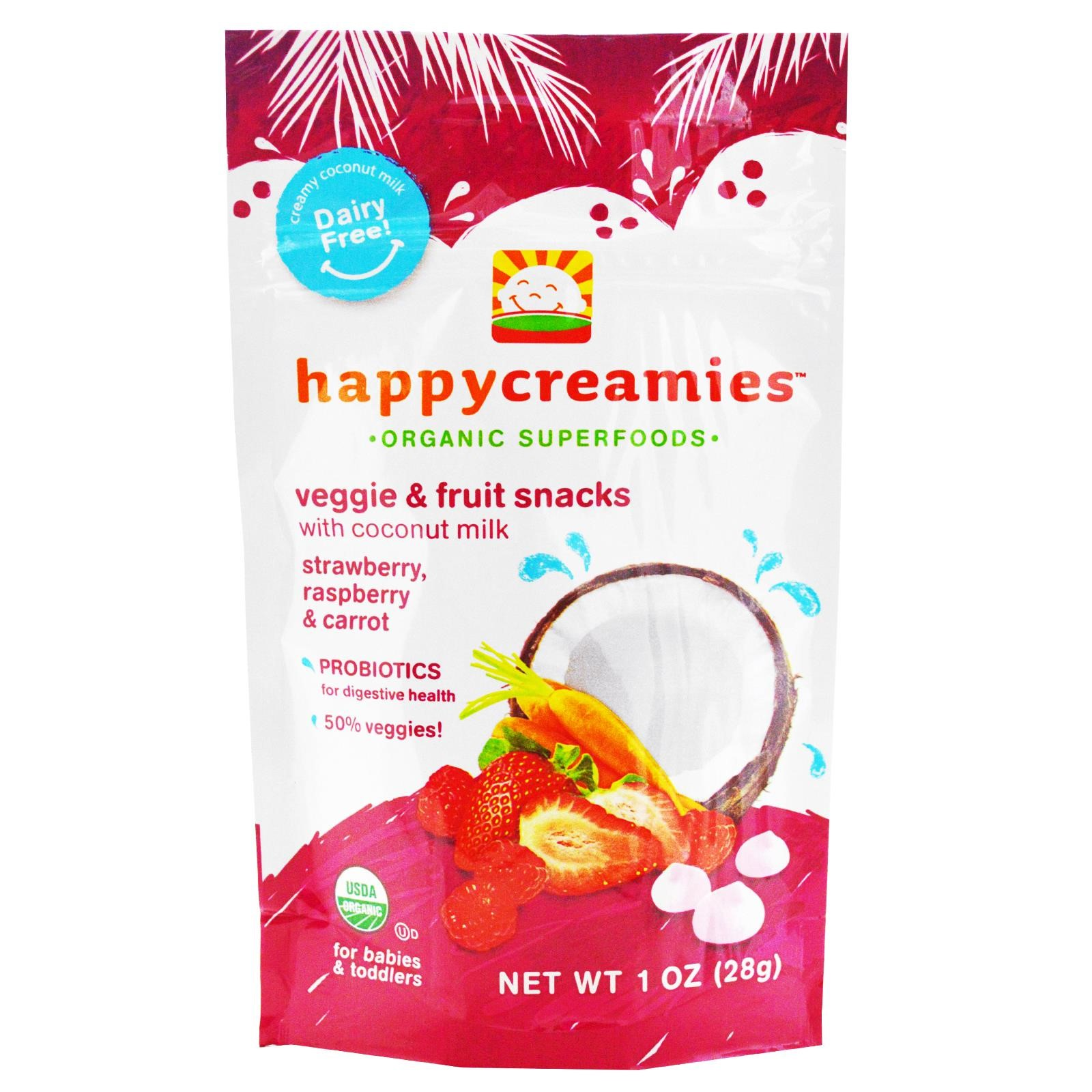 Happy Baby Coconut Creamies, Organic Baby Food, Strawberry, Raspberry & Carrot - 1 oz bag, 1.0 OZ