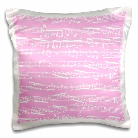 3dRose Light Pink Musical notes - stylish sheet music - piano notation - modern girly musician girls gifts - Pillow Case, 16 by 16-inch (Music Note Lights)