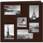 """Sewn Embossed Collage Frame Post Bound Album 12""""X12""""-Travel - Brown"""