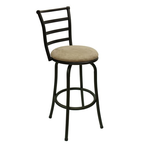"Mainstays 29"" Ladder Back Swivel Barstool with Tan Microfiber Seat"