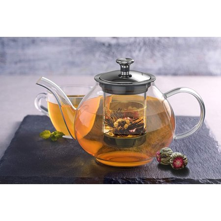 Moaere Glass Teapot Set Loose Leaf Tea Pot Good Kettles Clear Cup with Strainer Infuser and Lid