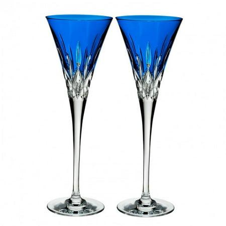 Waterford Crystal Lismore Pops Toasting Flutes, S/2, Cobalt