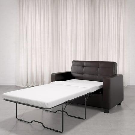 Mainstays Loveseat Sleeper Sofa, Twin, Chocolate Faux Leather