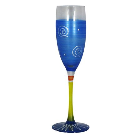 Set of 2 Dark Blue & White Hand Painted Champagne Drinking Glasses - 5.75 Oz.