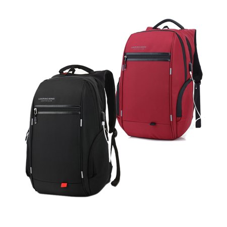 Scarlet Womens Backpack - LUXUR 37L Nylon Waterproof Laptop Backpack School Business Travel Casual Daypack with USB Charging Port