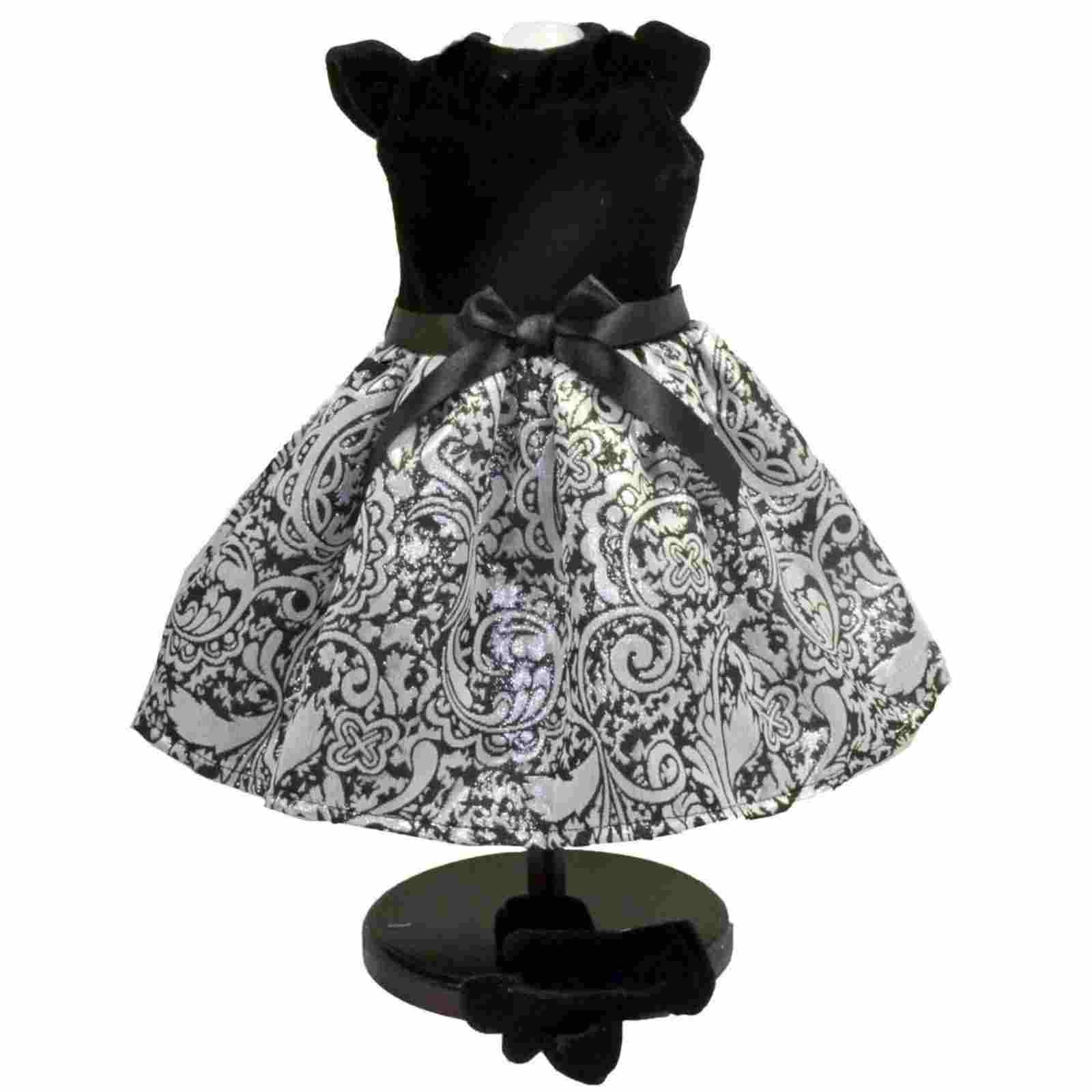 18 Inch Doll Clothes Outfit Black Velvet & Metallic Silver Dress & Velvet Long Gloves