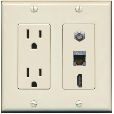 RiteAV - 15 Amp Power Outlet 1 Port HDMI Coax Shielded Cat6 Ethernet Ethernet Wall Plate - Light Almond