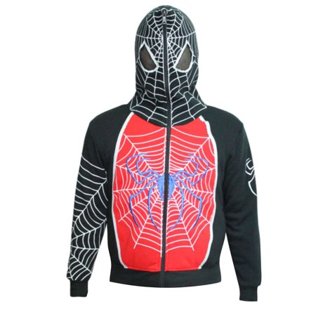 Spiderman Unisex-Child Zip Up Mask Costume Hoodie Sweatshirt Red 2