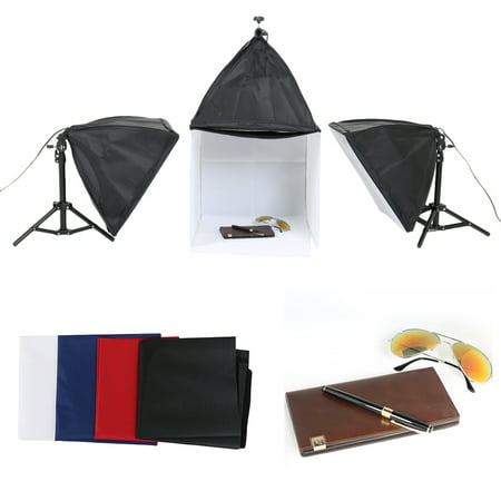 Portable Shooting Kit - Upgraded Portable Photo Lighting Studio Shooting Tent Box Kit include White/ Black/Blue/Red Background, Energy Saving Day Lights , Adjustable Tripod Stand for Softbox Holding, Softboxes with Mounts