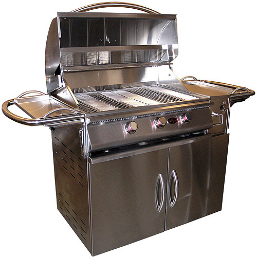 A La Cart Plus 3-Burner Stainless Steel Propane Gas Grill Cart