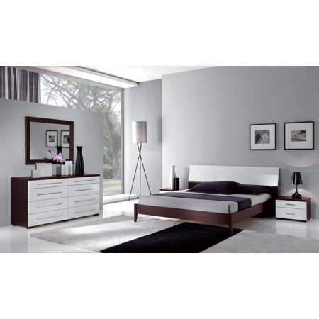 ESF Luxury Contemporary Bedroom Set in White & Wenge King Bed 3Pcs Made in  Italy