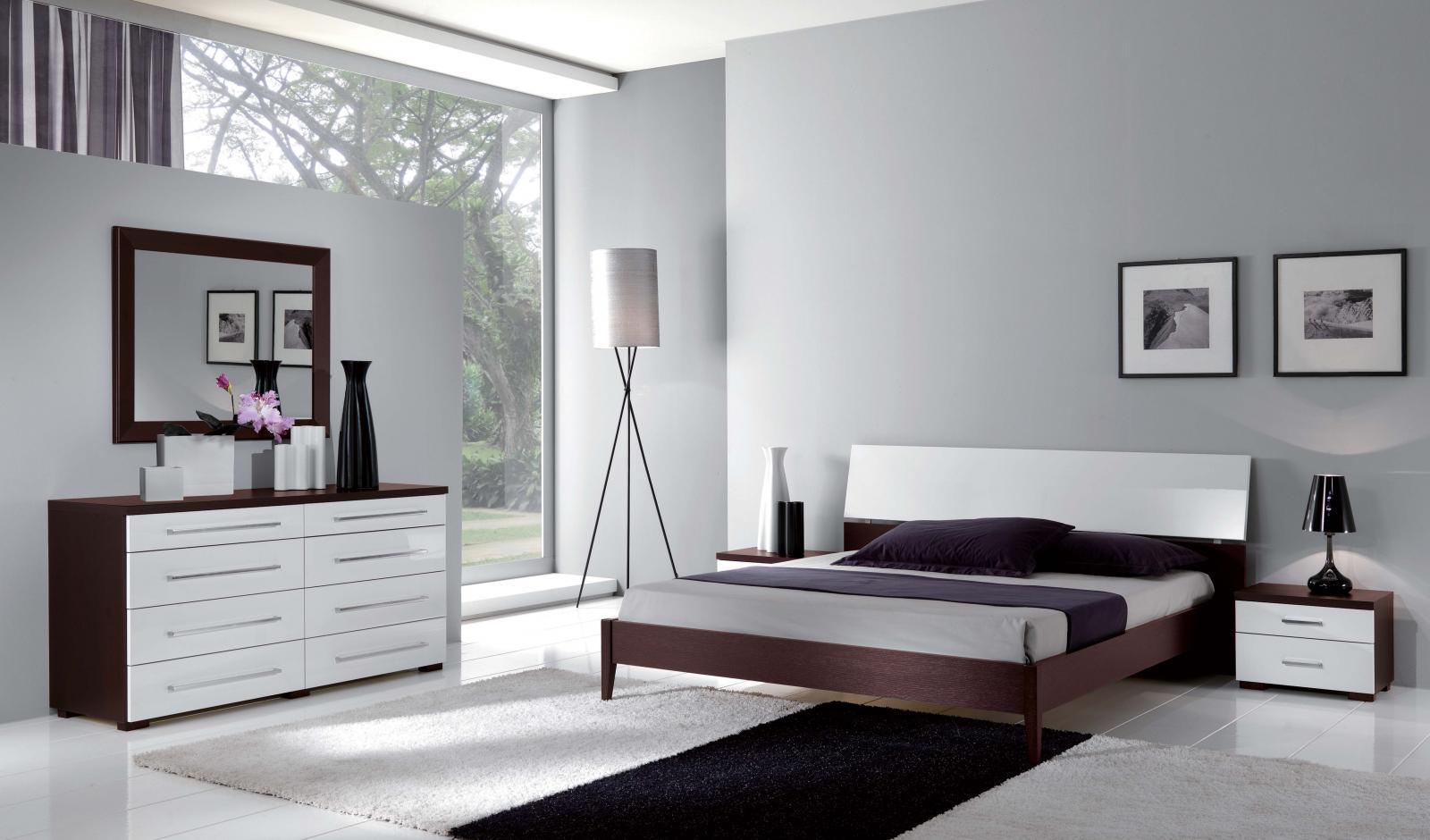 ESF Luxury Contemporary Bedroom Set In White U0026 Wenge King Bed 3Pcs Made In  Italy