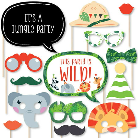 Jungle Party Animals - Safari Zoo Animal Birthday Party or Baby Shower Photo Booth Props Kit - 20 Count - Jungle Birthday Party